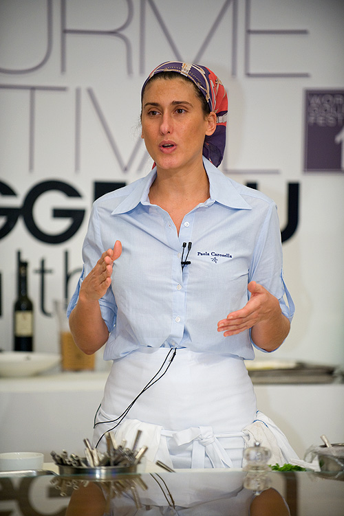 Paola Carosella giving a cooking demonstration at the Four Seasons Bangkok's World Gourmet Festival