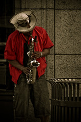 The Saxophonist (mopx) Tags: music chicago streetperformer musicalinstrument 2009 saxophone lollapalooza saxophonist streetphotographyincolor