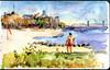 Manhattan Beach in Brooklyn, NY (Nik Ira) Tags: watercolor bijoubox