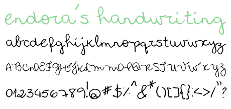 click to download endora's handwriting