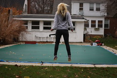 (NicoleMatthews) Tags: house fall pool jump garage lawn mower poolroom tarp greencover