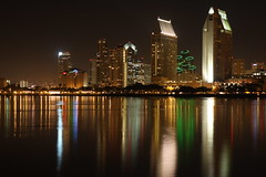 Reflections of the San Diego skyline (San Diego Shooter) Tags: sandiego sandiegoskyline downtownsandiego sandiegocityscape downtownsandiegoreflectionsatnight