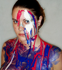 Day Eight Five: Painted (Lou Bert) Tags: pink blue portrait art face self mess paint throw splat