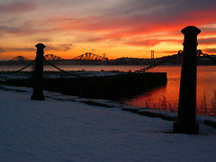 Scottish winter sunset (Frans Zwart) Tags: road bridge sunset bay scotland edinburgh harbour fife bridges rail forth firth stdavids dalgety m90 colorphotoaward flickrlovers