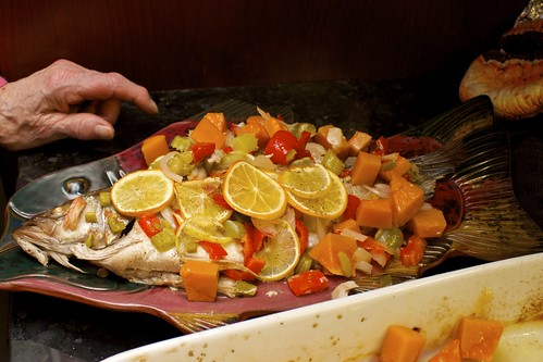 Fish 7 of 7: Baked Whole Bass with Vegetables