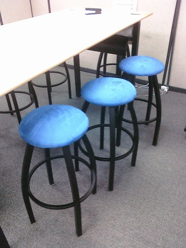 "Ptw Stools in our ""Think Tank"" recovered with blue fabric to look m ore like (M) Blue Dots"