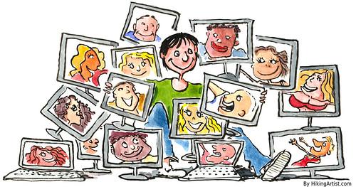 Social-media-addict illustration by HikingArtist.com, on Flickr