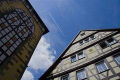 Deutsch Himmel (Mimmo Cardone) Tags: blue sky colors airplane wake roofs tbingen