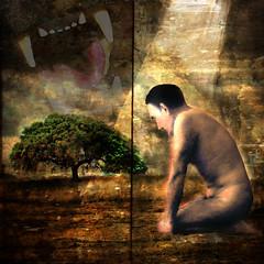 el animal que llevamos dentro (jesuscm) Tags: man tree animal naked nude arbol nu  jaws inside arbre dentro hombre homme nudismo desnudo nudisme mandibulas mandibules photographydigitalart memoriesbook theperfectphotographer photoshopcreativo awardtree jesuscm daarklands