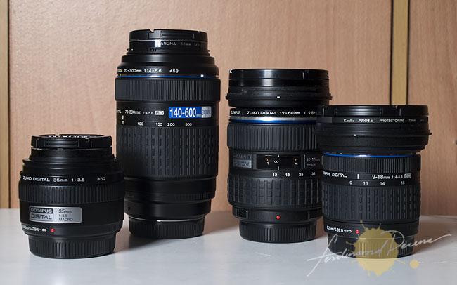 Zuiko Lenses I would bring: (l-r) 35mm Macro, 70-300mm, 12-60mm and 9-18mm