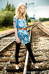 Leonie (JeroenKoning) Tags: lighting railroad woman girl fashion photography model jeroen nikon shoot photoshoot flash d70s railway blond rails nikkor leonie koning 35mmf20 strobist evine protestboarder evinenl dontreincarnateanyshootsonarailroadwithoutauthorizedpermission highendphotoshoot
