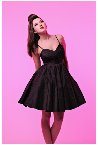 Pink Background Full Length, Black Silk Dress, Studio Look-Book Fashion Photography