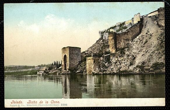 Baño de la Cava (Toledo) a principios del siglo XX. Foto Purger (coloreada)
