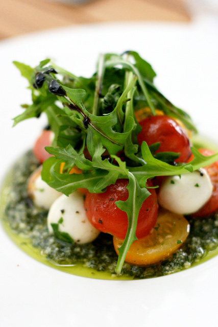 Mozzarella di Bufala Caprese (S$8.80): Ripe cherry tomatoes, basil pesto and buffalo mozzarella cheese