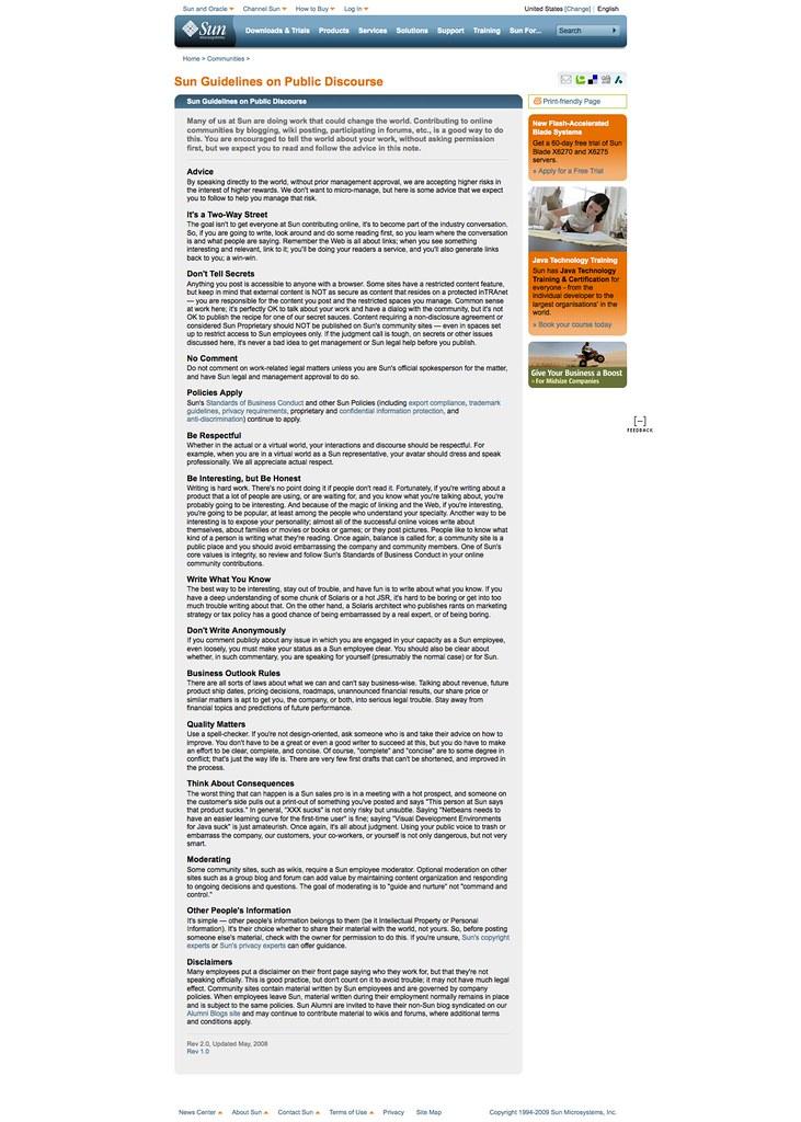 Sun Guidelines on Public Discourse