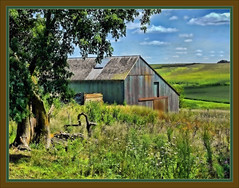 OFF THE BIG ROAD (rods pix) Tags: county old trees building tree art abandoned barn photoshop photo nikon midwest colorful decay farm barns super iowa abandon weathered farms decayed dilapidated madisoncounty topaz supershots d5000 oldandbeautiful mmmilikeit natrualwood allbeautifulshotsanmore