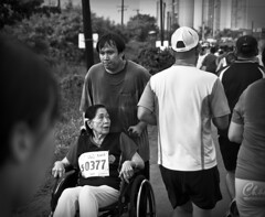 Running For Two (michaeljosh) Tags: blackandwhite race wheelchair gma funrun project365 twitter tamron1750mmf28 nikond90 fortbonifacioglobalcity michaeljosh runningfortwo tatakbokaba