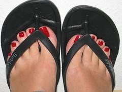 agian my red Toes Feet in black Flip Flops (nailboy77) Tags: red black feet toes toe rings flip flops toering