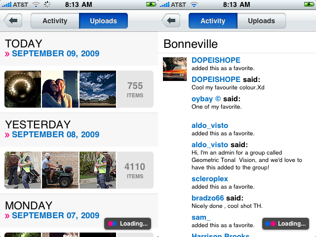Recent Uploads and Activity on the new Flickr iPhone App