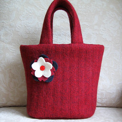 garnet Emily tote (FeltSewGood) Tags: wool craft sew purse etsy recycle handbag repurposed ecofriendly fulledwool upcycle feltedwool recycledwoolsweater feltswegood