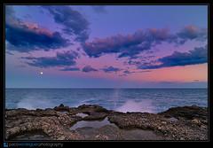 Pequea Luna (Paco Verdeguer) Tags: ocean sunset sea sky moon water valencia night spain mediterraneo nocturna d300 tokina1116mmf28