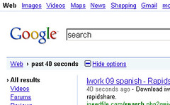 Google real-time search options