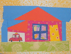 Becca's Wonky House and Garage (sparklygreenknickers) Tags: quiltblock wonkyhouse quiltingbee beeaddicted3 wonkygarage