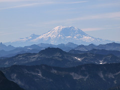 Zooming Into Rainier from Pass on South Shoulder of Kyes