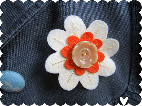Vintage Button Brooch
