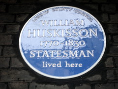Photo of William Huskisson blue plaque