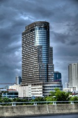 (dѧvid) Tags: street windows sunset sky reflection building tower clouds skyscraper thailand moody cloudy bangkok atmosphere huge tall hdr