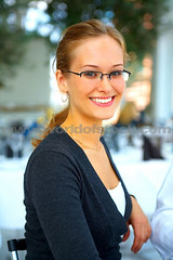 Smiling woman wearing glasses (GwG_Fan) Tags: girls smile glasses model gallery image girlswithglasses girlswearingglasses semirimlessglasses