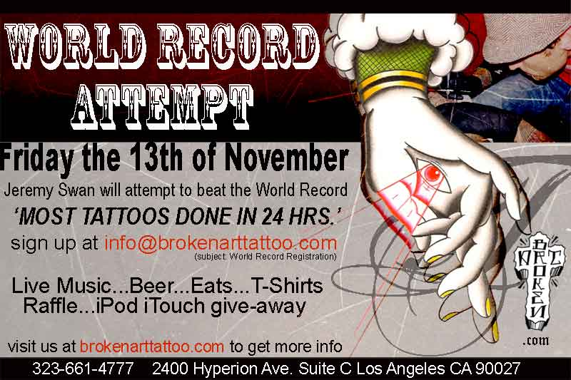Help my tattoo shop break a WORLD RECORD! photo 1