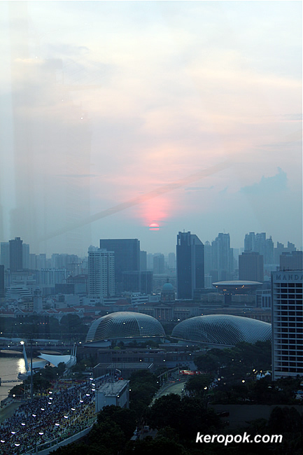 view of sunset from the Singapore Flyer