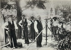 Surveying for Central Station, 1900 (State Records NSW) Tags: people blackandwhite hats archives newsouthwales tombstones surveyingequipment centralrailwaystation surveyors watchchains staterecordsnsw devonshirestreetcemetery georgemelrose