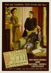 World war Two Savings Plan (hollabb) Tags: poster postcard postoffice wren savings ww11 wraf wrac wareffort