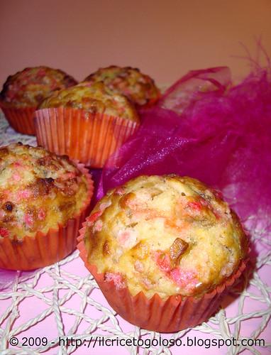 Muffins con chips di banane e zucchero rosa