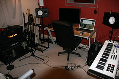 My Studio oct 09 (Trevor Foxall) Tags: effects guitars xlr badcat recordingstudio homestudio musicproduction macbookpro condensermic ribbonmic edirolfa101 quadcorepc cubase5 hotcat30 maudioaxiompro61 yamahamonitors