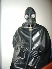rubberslave in latexcape (lulax40) Tags: fetish mask tube rubber gloves latex cape gasmask gummi klepper rubberslave gummisklave gummisau