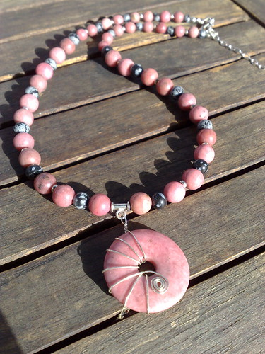 Rhodonite and snowflake obsidian necklace