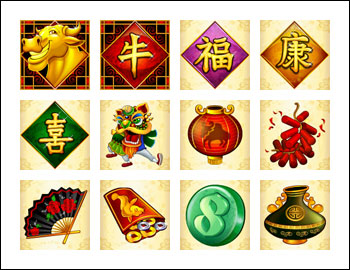 free Happy Golden Ox of Happiness slot game symbols