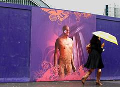 Separation,   (Shahireh) Tags: rain umbrella streetphotography nostalgic sculptures antonygormley    anotherplace   antonygormleysanotherplace
