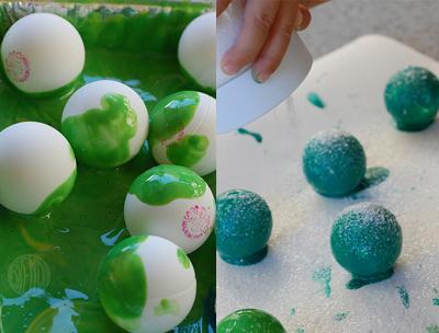 painting ping pong balls green