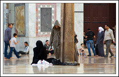 People at the Umayyad Mosque, Damascus