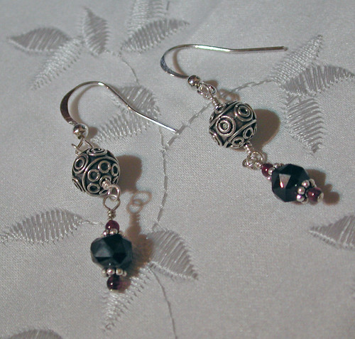 Garnet and Bali Silver Earrings