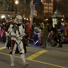 Candy Cane Storm Trooper (Perry McKenna) Tags: canada starwars ottawa parliament parade stormtrooper candycane firefighter santaclausparade on jedimaster wellingtonstreet canadascapital