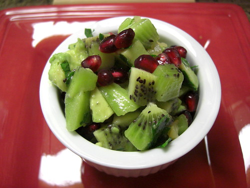 Kiwi salsa with avocado and pomegranate seeds