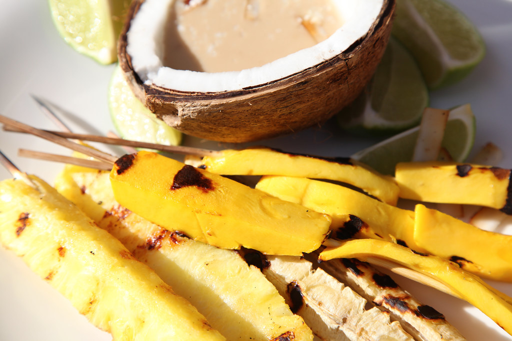 grilled tropical fruit with rum coconut sauce