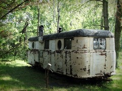 old rusted camper