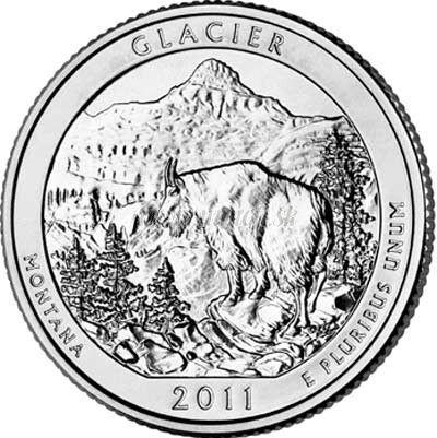 25 Centov USA 2011D Glacier America the Beautiful Quarter